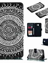 Недорогие -Кейс для Назначение SSamsung Galaxy J7 (2017) / J7 (2018) / J6 (2018) Кошелек / Бумажник для карт / Защита от удара Чехол Мультипликация / Цветы Твердый Кожа PU