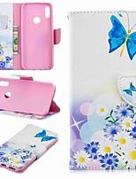 Недорогие -Кейс для Назначение Huawei Huawei P30 / Huawei P30 Pro / Huawei P30 Lite Кошелек / Защита от удара / со стендом Чехол Бабочка / Цветы Твердый Кожа PU