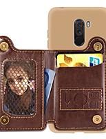 Недорогие -Кейс для Назначение Xiaomi Redmi Note 5A / Xiaomi Redmi Note 5 Pro / Xiaomi Pocophone F1 Кошелек / Бумажник для карт / Защита от удара Кейс на заднюю панель Однотонный Твердый Кожа PU
