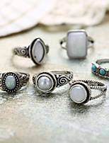 Недорогие -Жен. Цирконий Ring Set Кольцо с печаткой европейский Модные кольца Бижутерия Синий Назначение Свадьба 7pcs