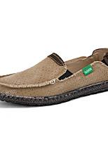 Недорогие -Муж. Комфортная обувь Полотно Весна лето На каждый день Мокасины и Свитер Дышащий Черный / Миндальный / Синий