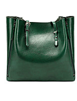 cheap -Women's Zipper Polyester / PU Top Handle Bag Leather Bags Solid Color Wine / Black / Green / Fall & Winter
