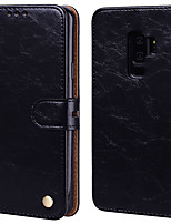 Недорогие -Кейс для Назначение SSamsung Galaxy S9 Plus Бумажник для карт / Флип Чехол Однотонный Твердый Кожа PU