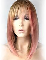 Недорогие -Парики из искусственных волос / Омбре Прямой / Естественный прямой Стиль Стрижка боб Без шапочки-основы Парик Розовый Золотой Розовый Искусственные волосы 16 дюймовый Жен.