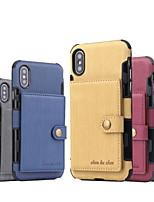 Недорогие -Кейс для Назначение Apple iPhone XS / iPhone XR / iPhone XS Max Кошелек / Бумажник для карт Кейс на заднюю панель Однотонный Твердый Кожа PU