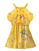 Недорогие -Дети Дети (1-4 лет) Девочки Активный Симпатичные Стиль маргаритка Цветочный принт Многослойный С принтом С короткими рукавами Выше колена Платье Желтый