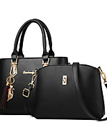 cheap -Women's Tassel Faux Leather / PU Bag Set Solid Color 2 Pieces Purse Set Black / Earth Yellow / Wine