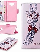 Недорогие -Кейс для Назначение SSamsung Galaxy Note 9 / Note 8 Кошелек / Бумажник для карт / со стендом Чехол Животное Твердый Кожа PU