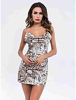 Недорогие -Жен. Богемный Оболочка Платье - Однотонный, Открытая спина Выше колена