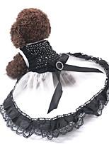Недорогие -смокинг Одежда для собак Стразы Кружева Принцесса Черный Хлопок Костюм Назначение Весна Лето Юбки и платья Свадьба