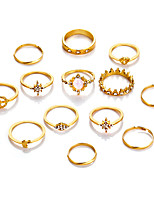 Недорогие -Жен. Цирконий Ring Set европейский Модные кольца Бижутерия Золотой Назначение Свадьба 13шт
