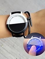 Недорогие -Муж. электронные часы Цифровой Кожа Черный / Белый Светодиодная лампа Повседневные часы Цифровой На каждый день Мода - Белый Черный
