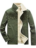 Недорогие -Муж. Повседневные / Офис Классический Наступила зима Обычная Куртка, Однотонный Приподнятый круглый Длинный рукав Хлопок Меховая оторочка Черный / Военно-зеленный / Хаки US32 / UK32 / EU40 / US34