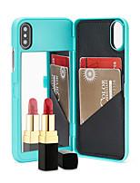 Недорогие -чехол для яблока iphone xs max / iphone 8 plus зеркало / противоударный / держатель карты задняя крышка сплошное цветное мягкое тпу для iphone 7/7 plus / 8/6/6 plus / xr / x / xs