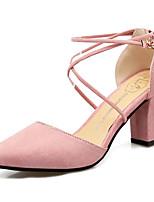 Недорогие -Жен. Обувь на каблуках На толстом каблуке Заостренный носок Замша Классика Весна лето Черный / Серый / Розовый