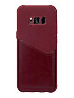 Недорогие -Кейс для Назначение SSamsung Galaxy S9 / S9 Plus / S8 Plus Бумажник для карт Кейс на заднюю панель Однотонный Твердый Кожа PU
