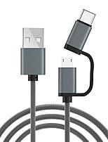 Недорогие -micro usb / type-c кабель 1,0 м (3 фута) 1 - 2 нейлоновых адаптера USB-кабеля для xiaomi / huawei