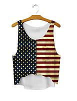 Недорогие -Взрослые Жен. Косплей Американский флаг Косплэй Kостюмы Жилет Назначение Halloween На каждый день Хлопок День независимости Жилетка