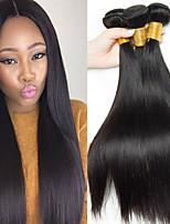 Недорогие -3 Связки Бразильские волосы Прямой Необработанные натуральные волосы 100% Remy Hair Weave Bundles Головные уборы Человека ткет Волосы Пучок волос 8-28 дюймовый Естественный цвет / Без запаха