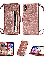 Недорогие -чехол для apple iphone xs max / iphone 8 plus блестящий блеск / противоударный / задняя крышка бумажника сплошная мягкая тпу / искусственная кожа для iphone 7/7 plus / 8/6/6 plus / xr / x / xs