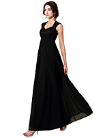 cheap -A-Line Elegant Empire Wedding Guest Formal Evening Dress Queen Anne Sleeveless Floor Length Chiffon Lace with Pleats 2020