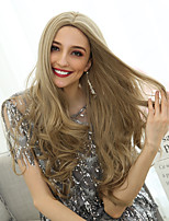 Недорогие -Парики из искусственных волос Кудрявый / Естественные волны Стиль Ассиметричная стрижка Без шапочки-основы Парик Светло-коричневый Светло-золотой Искусственные волосы 26 дюймовый Жен.