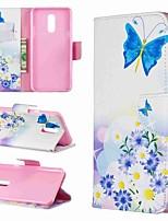 Недорогие -Кейс для Назначение LG LG V30 / LG V20 / LG Stylo 4 Кошелек / Защита от удара / со стендом Чехол Бабочка / Цветы Твердый Кожа PU / LG G6