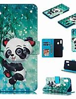 Недорогие -Кейс для Назначение SSamsung Galaxy A6 (2018) / A6+ (2018) / Galaxy A7(2018) Кошелек / Бумажник для карт / Защита от удара Чехол Мультипликация / Панда Твердый Кожа PU