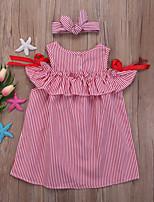 Недорогие -Дети Дети (1-4 лет) Девочки Полоски Платье Розовый