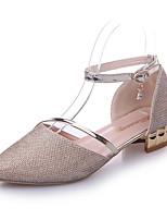 Недорогие -Жен. Обувь на каблуках На низком каблуке Заостренный носок Полиуретан На каждый день Лето Золотой / Серебряный