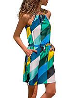 Недорогие -Жен. Оболочка Платье - Однотонный Полоски Цветочный принт, С принтом Выше колена
