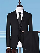 cheap -Tuxedos Tailored Fit / Standard Fit Notch Single Breasted Two-buttons Cotton Blend / Cotton / Polyester City / Solid Color