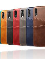 Недорогие -Кейс для Назначение Huawei Huawei P30 Бумажник для карт / Защита от удара / Защита от пыли Кейс на заднюю панель Однотонный Твердый Кожа PU / ПК