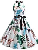 Недорогие -Жен. Классический Изысканный А-силуэт С летящей юбкой Платье - Контрастных цветов, С принтом До колена