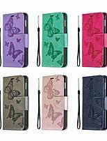 Недорогие -Кейс для Назначение SSamsung Galaxy S9 / S9 Plus / Galaxy S10 Кошелек / Бумажник для карт / со стендом Чехол Однотонный / Бабочка Твердый Кожа PU