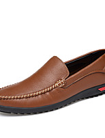 cheap -Men's Moccasin Cowhide Spring & Summer / Fall & Winter Casual / British Loafers & Slip-Ons Non-slipping Black / Brown