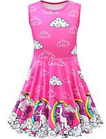 Недорогие -Дети Девочки Активный Симпатичные Стиль Unicorn Мультипликация Без рукавов До колена Платье Пурпурный
