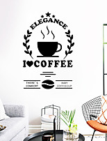 cheap -Coffee Wall Stickers Words & Quotes Wall Stickers Decorative Wall Stickers PVC Home Decoration Wall Decal Wall Decoration 1pc