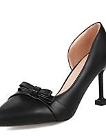 Недорогие -Жен. Обувь на каблуках Балетки На каблуке-рюмочке Заостренный носок Бант Полиуретан Весна & осень Черный / Бежевый / Розовый / Свадьба