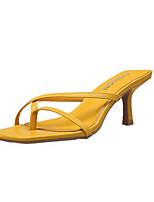 Недорогие -Жен. Обувь на каблуках Комфортная обувь На шпильке Открытый мыс Полиуретан Милая Для прогулок Лето Черный / Желтый