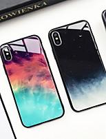 Недорогие -Кейс для Назначение Apple iPhone XS / iPhone XR / iPhone XS Max С узором Кейс на заднюю панель Цвет неба Твердый Закаленное стекло