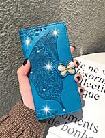 Недорогие -Кейс для Назначение Motorola МОТО Р40 / МОТО One Vision / Мото G7 Кошелек / Бумажник для карт / Стразы Чехол Бабочка / Цветы Мягкий Кожа PU