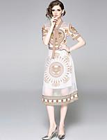 Недорогие -Жен. Богемный А-силуэт Платье - Этно, Пэчворк Средней длины