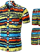 cheap -Men's Swim Shirt Swim Trunks Rash Guard Sun Shirt Board Shorts Breathable Quick Dry UPF50+ Short Sleeve 2-Piece - Swimming Surfing Water Sports Painting Summer