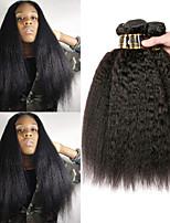 Недорогие -4 Связки Бразильские волосы Естественные прямые Не подвергавшиеся окрашиванию Человека ткет Волосы Пучок волос Накладки из натуральных волос 8-28 дюймовый Естественный цвет Ткет человеческих волос