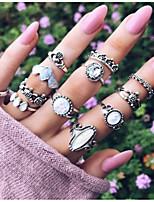 Недорогие -Жен. Цирконий Ring Set европейский Модные кольца Бижутерия Серебряный Назначение Свадьба 12шт