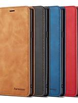 Недорогие -Кейс для Назначение SSamsung Galaxy Note 9 Кошелек / Бумажник для карт / Защита от удара Чехол Однотонный Твердый Кожа PU