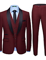 cheap -Tuxedos Tailored Fit Shawl Collar Single Breasted One-button Polyester Solid Color / British / Fashion