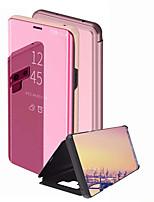 Недорогие -Кейс для Назначение SSamsung Galaxy Note 9 / Note 8 Зеркальная поверхность / Флип Чехол Однотонный Твердый ПК