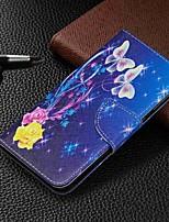 Недорогие -Кейс для Назначение SSamsung Galaxy Galaxy A7(2018) / Galaxy A10 (2019) / Galaxy A30 (2019) Кошелек / Бумажник для карт / со стендом Чехол Бабочка Твердый Кожа PU